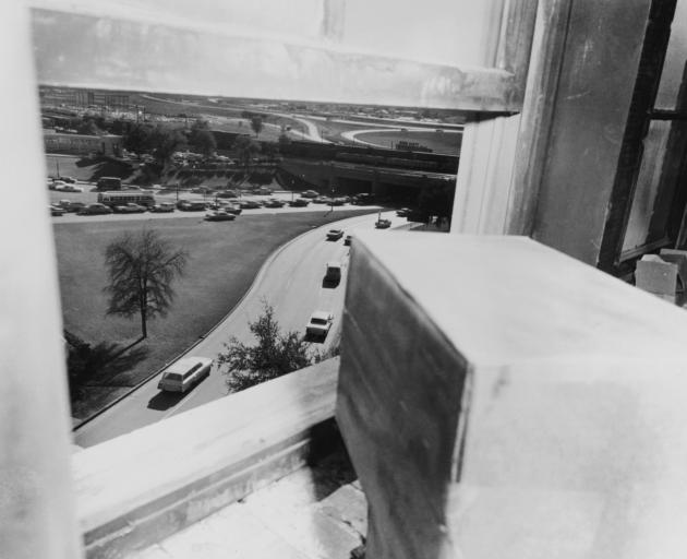 The view from the sixth-floor window of the Texas School Book Depository. Photo: Getty Images