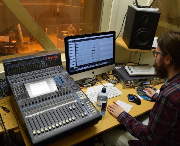 Dunedin-born sound designer and musician Jimi Wilson at work. Photo: Supplied