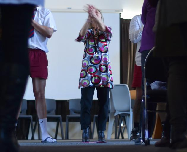 Malcam Charitable Trust youth worker Ruth Ratcliffe leads an interactive drama performance...