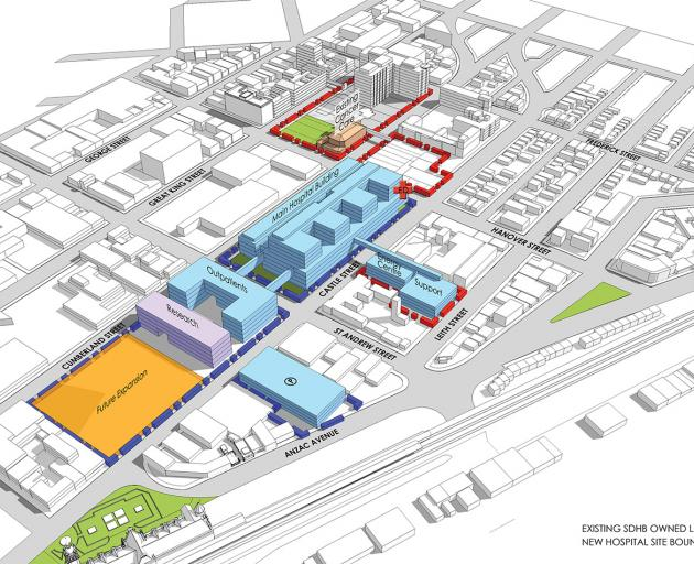 A possible configuration for how the new Dunedin Hospital site could be used. Image:...