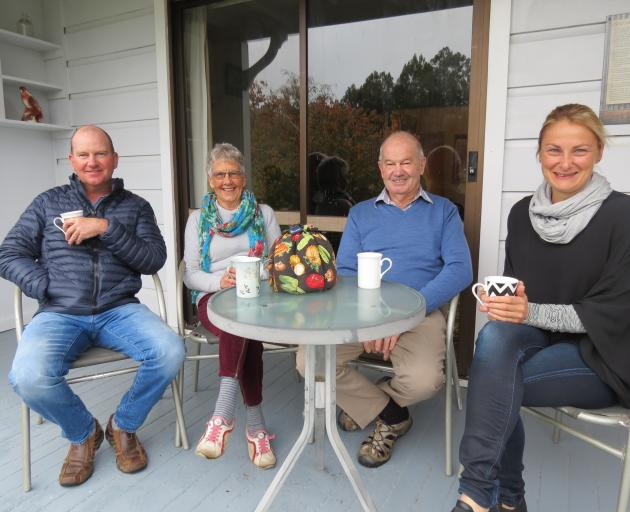 Two of the six generations of the Cummings family share tea at their Tuapeka Flat farm. From left are Phil Cummings, Mum Maureen, Dad Peter and Phil's wife Melinda. Photo: Yvonne O'Hara