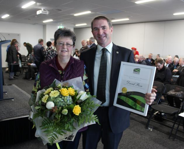 David Rose and his wife, Helen,  take in the moment after Mr Rose was presented with a life membership to Southland Federated Farmers at its AGM in Invercargill last week. Photo: Nicole Sharp