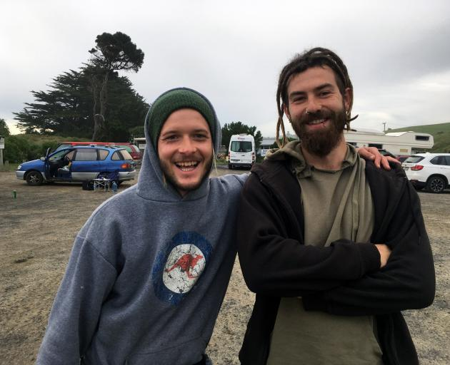 German freedom campers Marc Hasler (left) and Danny Sumpter prepare to depart from the Ocean View Recreation Reserve in Dunedin last week. PHOTO: SHAWN MCAVINUE