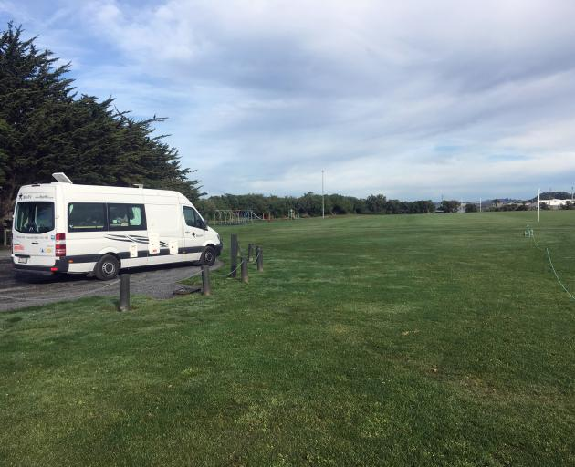 A camper van is parked in an area of the Brighton Domain on Saturday, which could be closed to freedom camping if a proposal is accepted. Photo: Shawn McAvinue