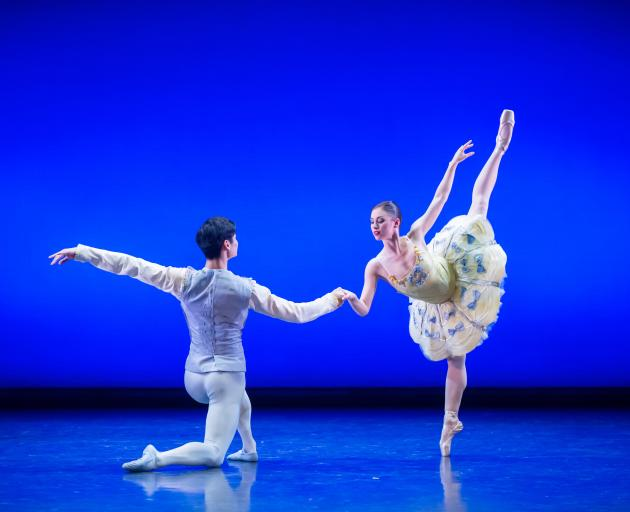 Royal New Zealand Ballet dancers Kate Kadow and Wan Bin Yuan in Divertimento No 15. Photo: Stephen A'Court