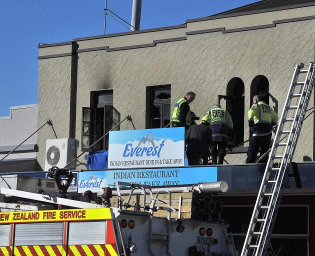 Emergency services at the scene of the fatal fire in Waimate. Photo: ODT