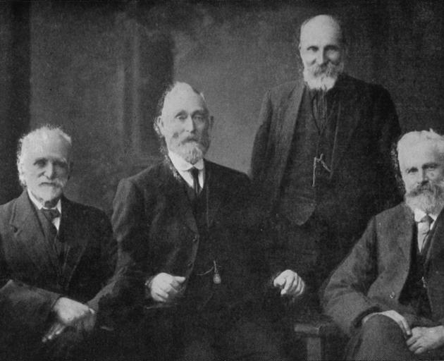 Four old residents from the Lakes District who visited the Winter Show in Dunedin. From left: Messrs William Bell, John Keene, Walter Little, and David Grierson. - Otago Witness, 26.6.1918.