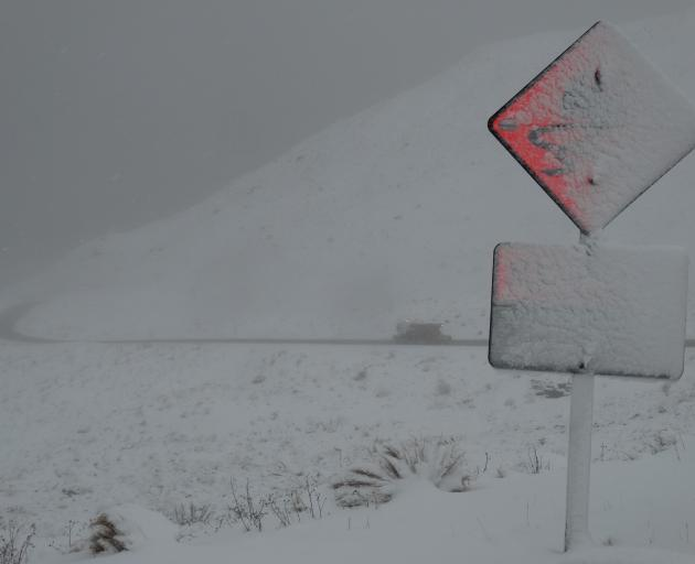 The Crown Range was shut on Satuday night due to heavy snow. Photo: Paul Taylor