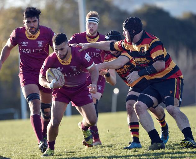 Alhambra Union against Zingari during the premier Rugby match at Montecillo on Saturday. PHOTO...