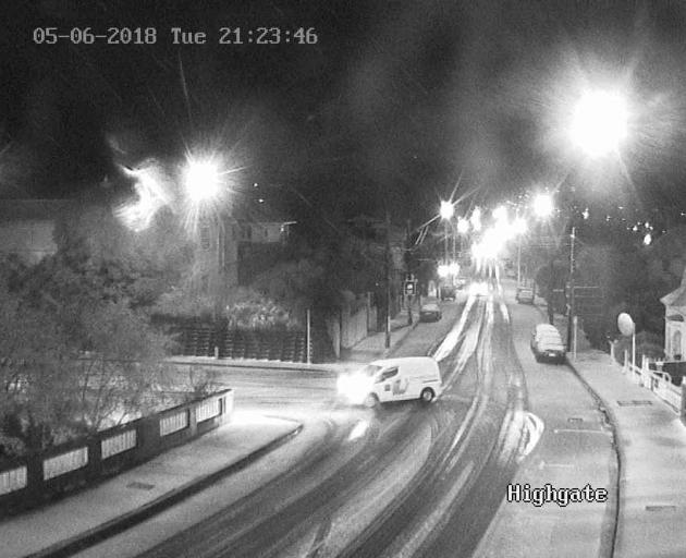 The Highgate bridge cam shows some snow had settled by just before 9.30pm. Photo: DCC