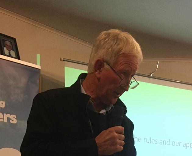 Southland Federated Farmers provincial president Geoffrey Young talks to farmers about standing together in the appeal process of Southland's Water and Land Plan at a meeting in Otautau recently. Photo: Nicole Sharp