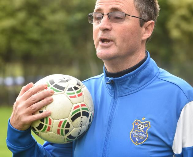 Terry Parle at Logan Park yesterday as he prepares to coach the Southern United women's team in...