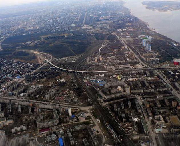 The city of Volgograd, with the Volga River and Volgograd Arena visible, top right. Photo: Wiki...
