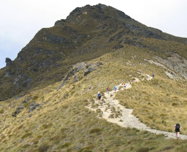 Walkers approach the summit of Ben Lomond. PHOTO: ODT FILES