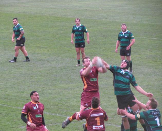 Athletic Marist and Maheno contest a lineout during the Citizens Shield game in Oamaru today....