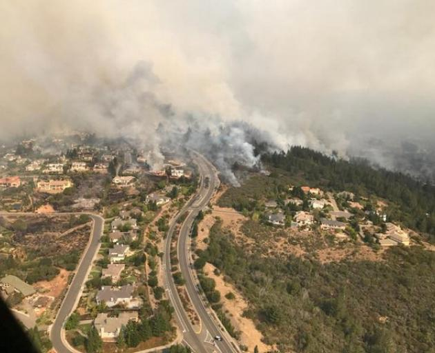 Handout photo of an aerial photo of the devastation left behind from the North Bay wildfires north of San Francisco. Photo: California Highway Patrol/Golden Gate Division/Handout via Reuters