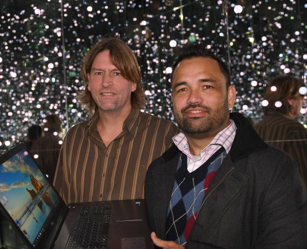Paul Hansen (left) and Rueben Skipper, from 1000Minds, in the Infinity room at Otago Museum. Photo: Stephen Jaquiery