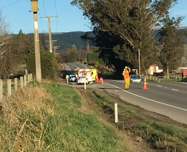 Two people were injured in a crash on SH1  near Herbert, North Otago, this morning. Photo: Tyson...