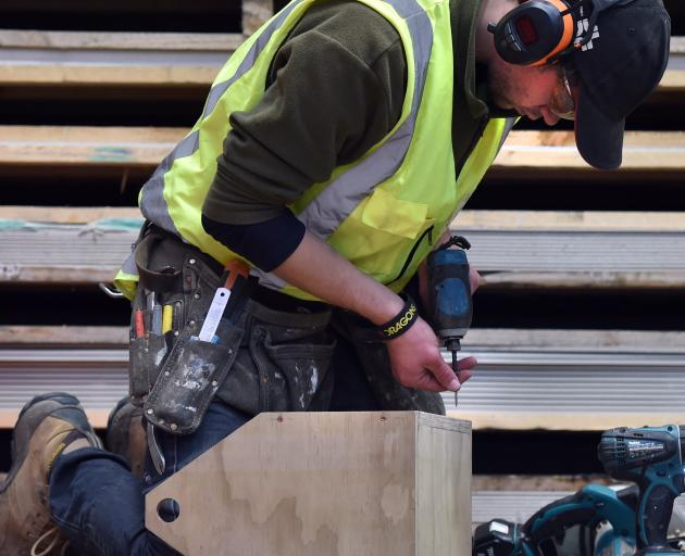 David Solin, of Dunedin, makes a tool box during the carpentry apprentices competition practical...