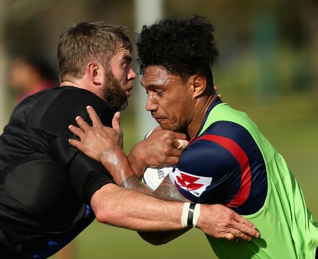 Lopeti Timani (right) during a Rebels training session. Photo: Getty Images