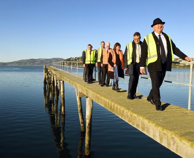 Regional Economic Development Minister Shane Jones leads a tour of Steamer Basin yesterday,...