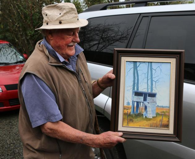 "Geraldine resident Robin Scott recalls a tree house they built as children in the 1940s and a painting of it, from a photo, by local artist Roy Entwistle. ""He took some artistic licence with the colour, it was just plain boards. I've no idea where the pho"