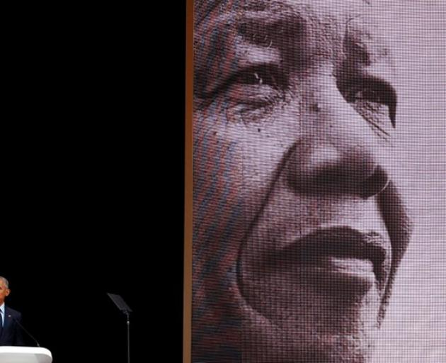 The 16th Nelson Mandela annual lecture marked the centenary of the anti-apartheid leader's birth, in Johannesburg. Photo: Reuters