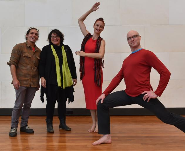 Mixing science and dance are (from left) Simon Kaan, Metiria Turei, Louise Potiki-Bryant and Rhys Latton as they prepare for their upcoming Matariki dance piece. Photo: Gregor Richardson