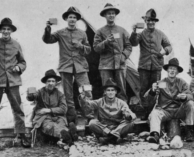 Otago boys of the 4th platoon, A company, 42nd Reinforcements in camp. Standing (from left): W.F....