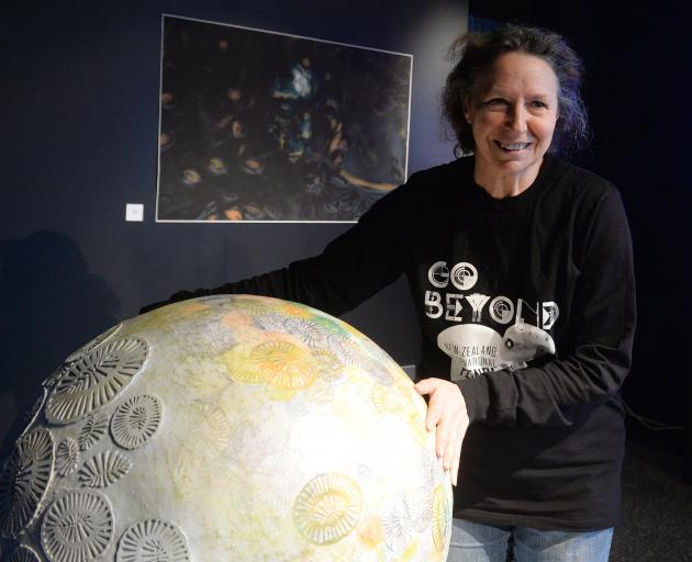 ''Art + Oceans'' exhibition co-curator Pam McKinlay at the Otago Museum with a sculpture of a...