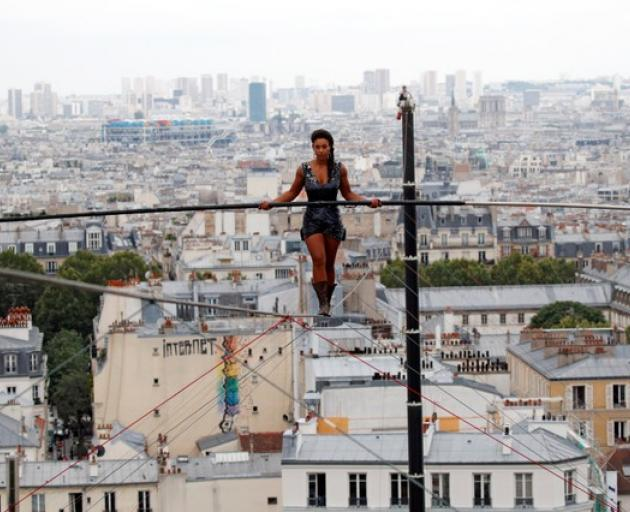 Bongonga, who prepared for the show for a year, has been practising tightrope walking since she was 8. Photo: Reuters