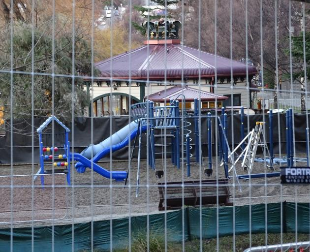 Work has started on upgrading a playground by The Bathhouse Restaurant, on the shore of Lake Wakatipu. The $999,000 project is expected to be completed in October. Photo: Tracey Roxburgh