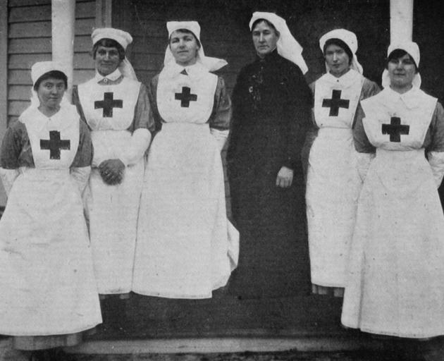 The matron and nurses at the new Red Cross home at Eglinton, Dunedin. From left: Miss Ogston, Mrs...