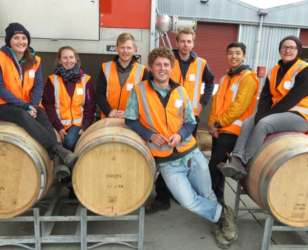 The competitors in this year's Central Otago Young Winemaker of the Year at the VinPro site in Cromwell on July 6. From left are Annalise Williams, of Domaine Thomson, second-placegetter Abby Gallagher, of Central Otago Wine Company, winner Ben Tombs, of