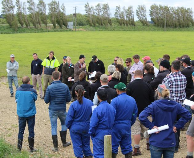 AgResearch senior scientist Ross Monaghan talks at a dairy hub field day last year about the different options being explored to reduce nitrogen leaching. Photo: SRL files