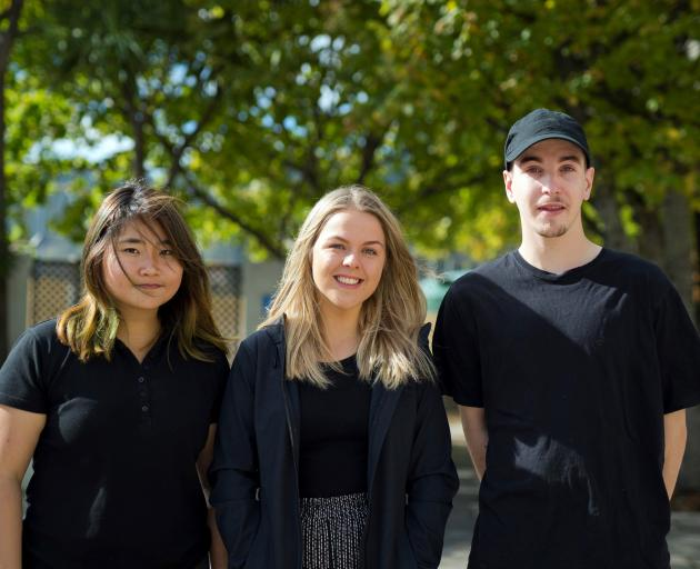 Otago Polytechnic bachelor of culinary arts students (from left) Jessica Alesha, Sophie James and Euan Fraser. Photo: Supplied