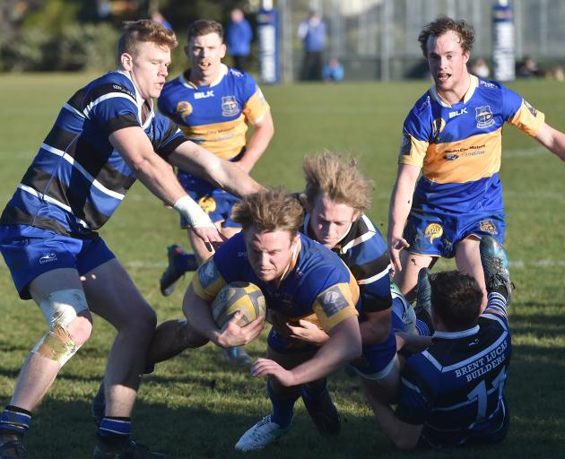 Taieri go over for a try during their thrilling win over Kaikorai at Bishopscourt today. Photo: ODT