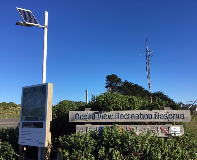 A new solar lamp sheds light on freedom camping rules at the Ocean View Recreation Reserve. Photo: Shawn McAvinue