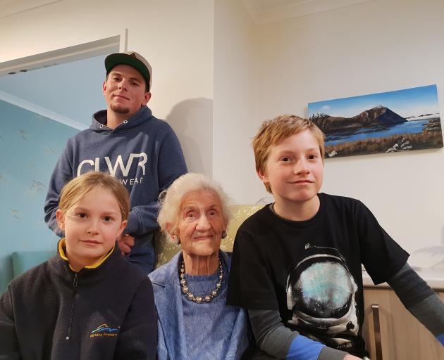 Joining Barbara Cruickshank for her 102nd birthday celebrations are her great grandchildren Heath...