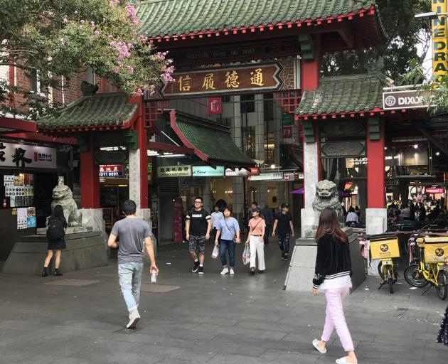 The paifang, or entrance gate, in Dixon St, Sydney. PHOTOS: GILLIAN VINE