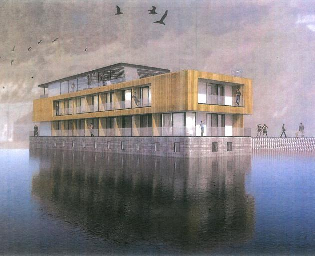 An artist's impression of the multimillion-dollar floating hotel proposed for Oamaru Harbour.