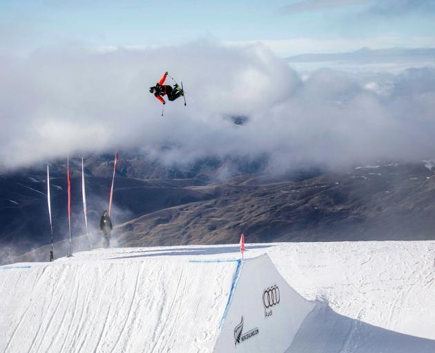 Norwegian freeskier Birk Ruud goes huge during the junior world championships big air qualifying...