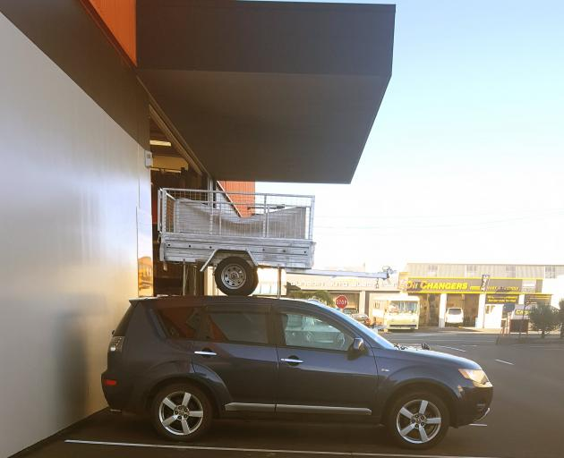 Some pretty impressive trailer parking by Bill Wright of Dunedin - or is it an optical illusion?...