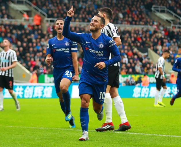 Chelsea's Eden Hazard celebrates a goal during his team's win against Newcastle. Photo: Getty Images