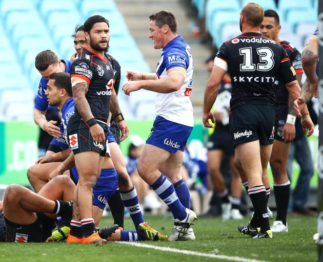 Isaac looks bemused as the Bulldogs celebrate a try. Photo: Getty Images