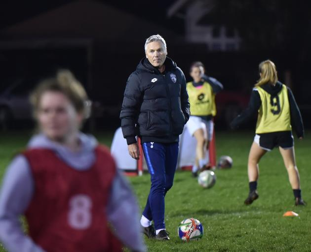 Graeme Smaill coaches the Dunedin Technical women's side on Wednesday night at De Carle Park....