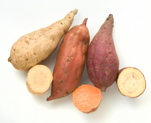 Three of the many kumara colours now grown. Photo: vegetables.co.nz