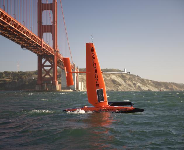 Saildrone 127 leaving San Francisco in 2015. PHOTO: SAILDRONE