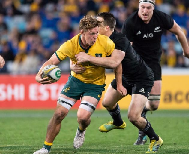 Michael Hooper carries the ball during last week's test between the Wallabies and the All Blacks....