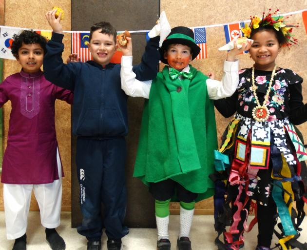 Remarkables Primary School pupils (from left) Musa Hisham (6), Tyler Love (7), Hector Tanner (7)...